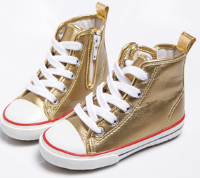 EZ Shoes Canvas Metallic High Tops Gold
