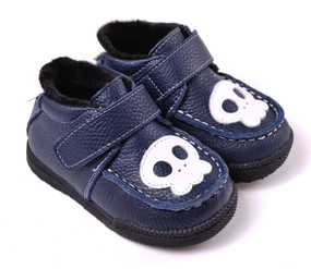 "Caroch ""Skull"" Navy Leather Shoes"