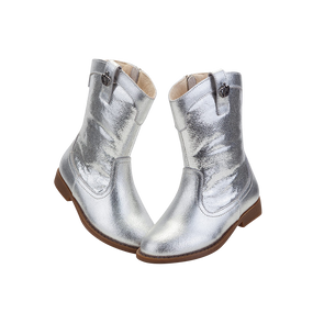 "TS ""Shine"" Silver Leather Boots"