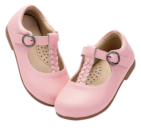 "TS ""Megs"" Pink Leather T-Bar Shoes"