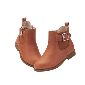 "TS ""Flo"" Caramel Leather Ankle Boots"