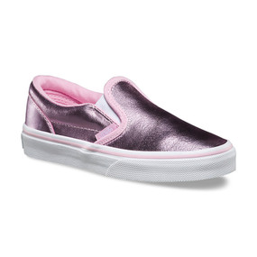 Vans Girls Classic Metallic Pink Slip On Kids Shoes