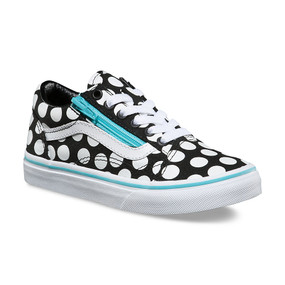 Vans Old Skool Zip Polka Dot Black Girls Shoes