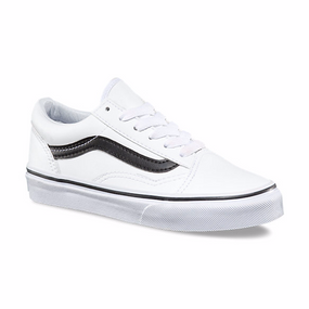 Vans Old Skool  White Leather Kids Shoes