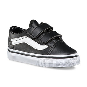 Vans Old Skool V Black Leather Toddler Shoes