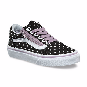 Vans Old Skool Zip Micro Heart Black Girls Shoes