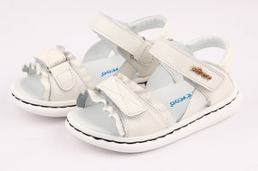 "Pre Order Freycoo ""Deccy"" White leather girls sandals"