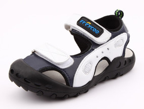 "Pre Order Freycoo ""Active"" white & blue leather sandals"