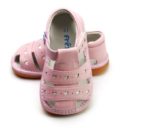 """Freycoo """"Lucy"""" Girls Pink Leather Sandals"""