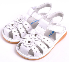 "Caroch ""Addison"" White Leather Sandals"