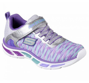 Skechers Litebeams Sivler Light Up Girls Sneakers