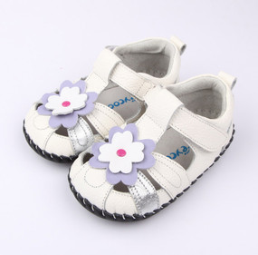 "Freycoo ""Sweet Pea"" White Leather Soft Sole Shoes"