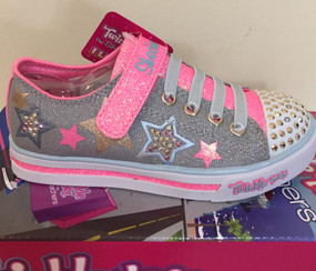 Skechers Twinkle Toes Twinkerella Sparkle Glitz Light Up Girls Shoes