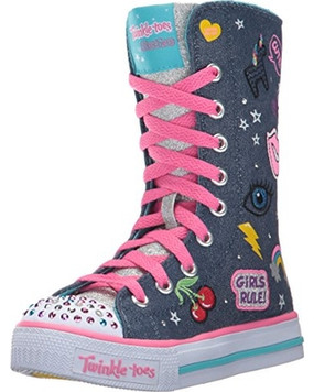 Skechers Patch Play Long High Girls Light Up Sneakers