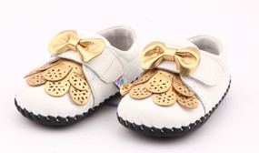 """Freycoo """"Prue"""" White & Gold Soft Sole Leather Shoes"""
