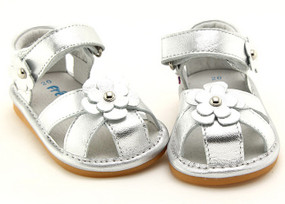 "Freycoo ""River"" Silver Leather Sandals"
