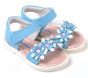 "Caroch ""Lotus"" Blue Leather Sandals"