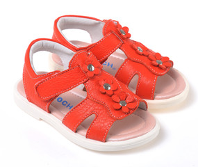 "Caroch ""Aspen"" Orange Red Leather Sandals"