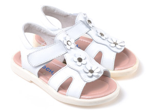 "Caroch ""Aspen"" White Leather Sandals"