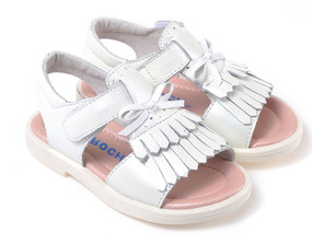 "Caroch ""Tassel"" Off White Leather Sandals"
