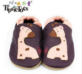 "Tipsie Toes ""Giraffe"" Leather Soft Sole Shoes"