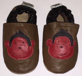 "Tipsie Toes ""Monkey"" Brown Leather Soft Sole Shoes"