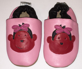 "Tipsie Toes ""Monkey"" Pink Leather Soft Sole Shoes"