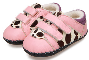 "Caroch ""Jungle"" Pink Leather Soft Sole Shoes"