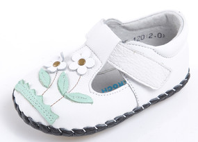 "Caroch ""Botanic"" White Leather Soft Sole Shoes"
