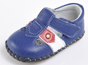 "Caroch ""Blair"" Blue Leather Soft Sole Shoes"