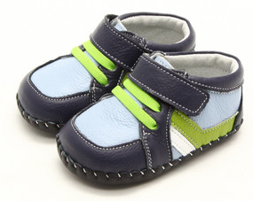 "Freycoo ""Little Fin"" Blue Leather Soft Sole Shoes"