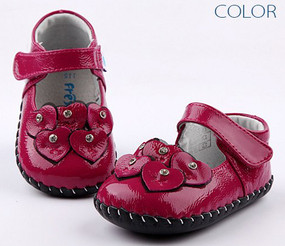 "Freycoo ""Love Is In The Air"" Magenta Leather Soft Sole Shoes"