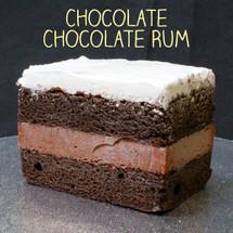 Moist chocolate cake + (non-alcoholic) chocolate rum custard + Lisa's signature Italian whipped cream.