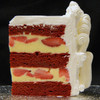 STRAWBERRY RED VELVET: moist layers of Red Velvet cake filled with French Vanilla custard layered with fresh sliced strawberries. Add $4.