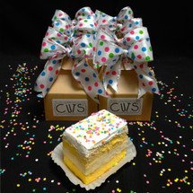 """Say """"Happy Birthday"""" so sweetly with Birthday CUTS! They come gift wrapped with festive polka-dot bows and decorated with edible confetti-quins."""