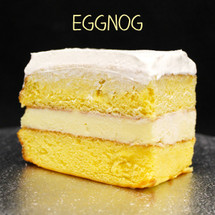 Moist yellow cake + creamy Eggnog custard + Italian whipped cream.