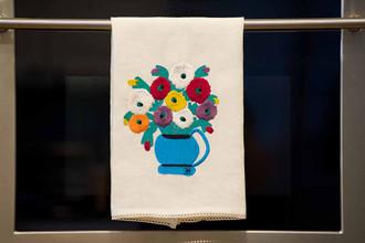 Zinnas Looking at You Linen Tea Towel.