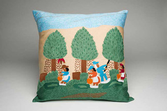 Pecan Picking Hand Embroidered Pillow.