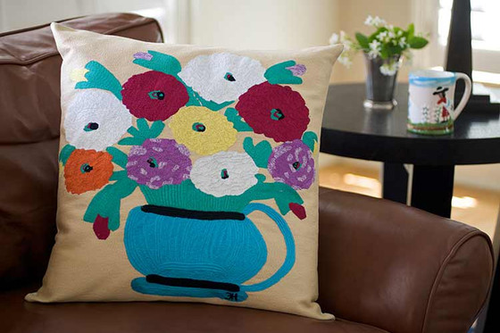 Zinnas Looking at You Hand Embroidered Pillow.