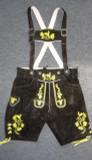 Black Cow Lederhosen (LEDBTBLK-GOLD) with deer suspenders
