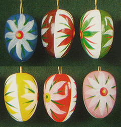 Six Colorful Eggs Edelweiss Ornaments