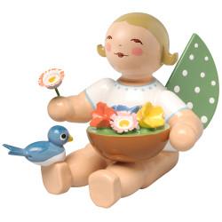 Wendt Kuhn Blonde Angel Flowers Bird Figurine FGW650X156A