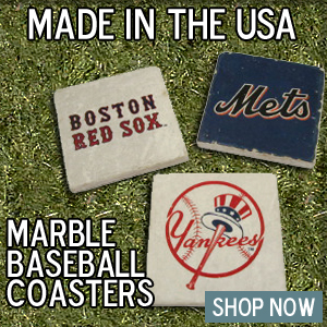 Baseball coasters handcrafted from tumbled Marble in Ohio.