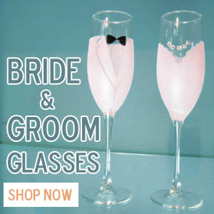 Bride and Groom toasting flutes and glassware hand decorated in San Francisco.