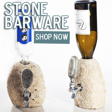 Totally awesome stone bar ware handcrafted in New England from real river stones.
