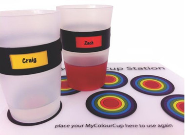 Place cups on station mat for reuse.