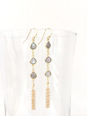 Labradorite Tear Drop Tassel earring