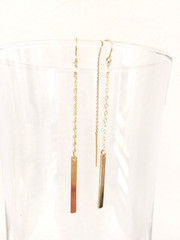 Gold Bar Ear Threader earring