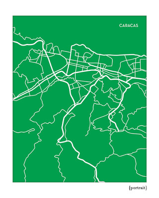 City map of Caracas - portrait