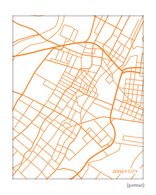 Jersey City Map Print, portrait